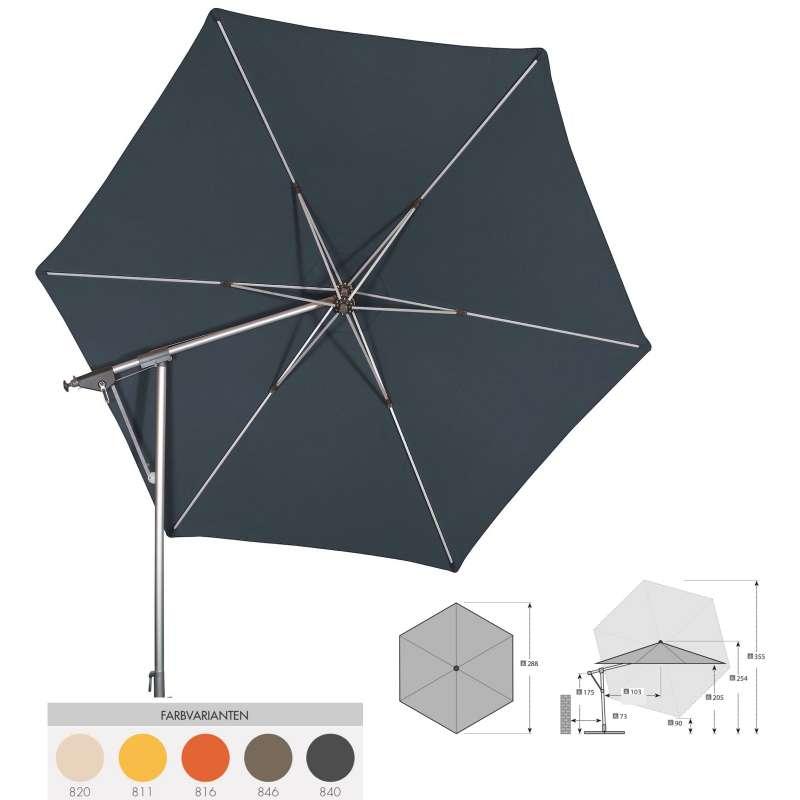 Doppler Sunline ø 290 cm rund Pendelschirm Sonnenschirm 5 Farbvarianten Ampelschirm