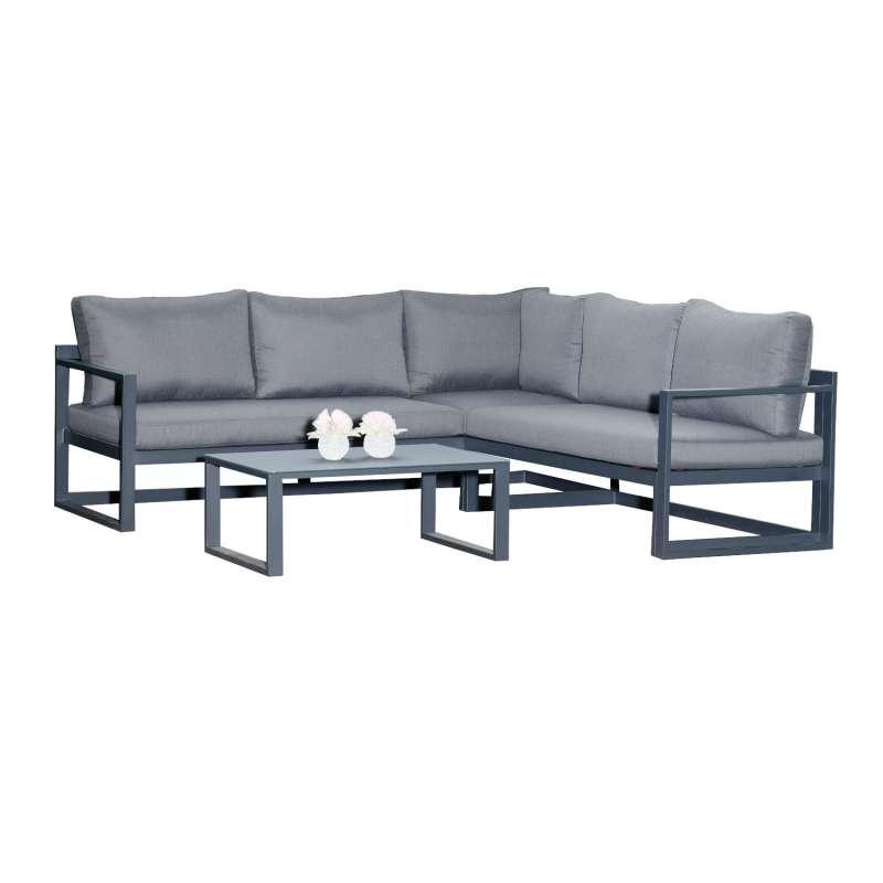 SunnySmart 2-teilige Loungegruppe Horizon Aluminium anthrazit Ecksofa mit Tisch