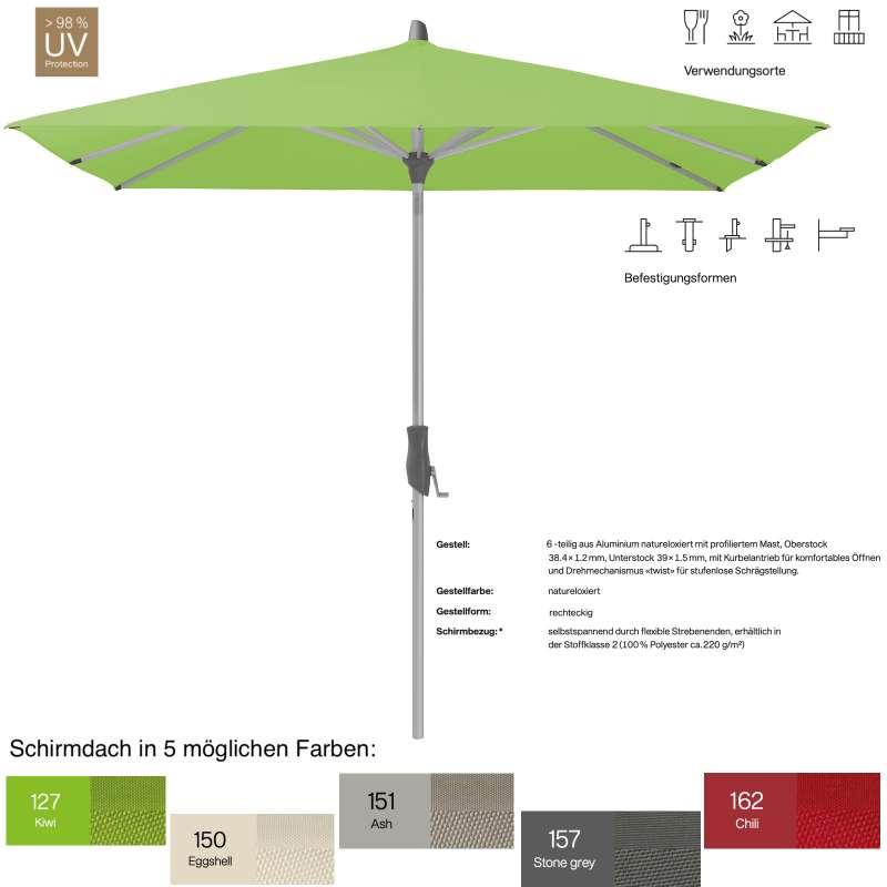 GLATZ Sonnenschirm ALU-TWIST easy rechteckig 250 x 200 cm in 5 Farben Mittelstock Stoffklasse 2