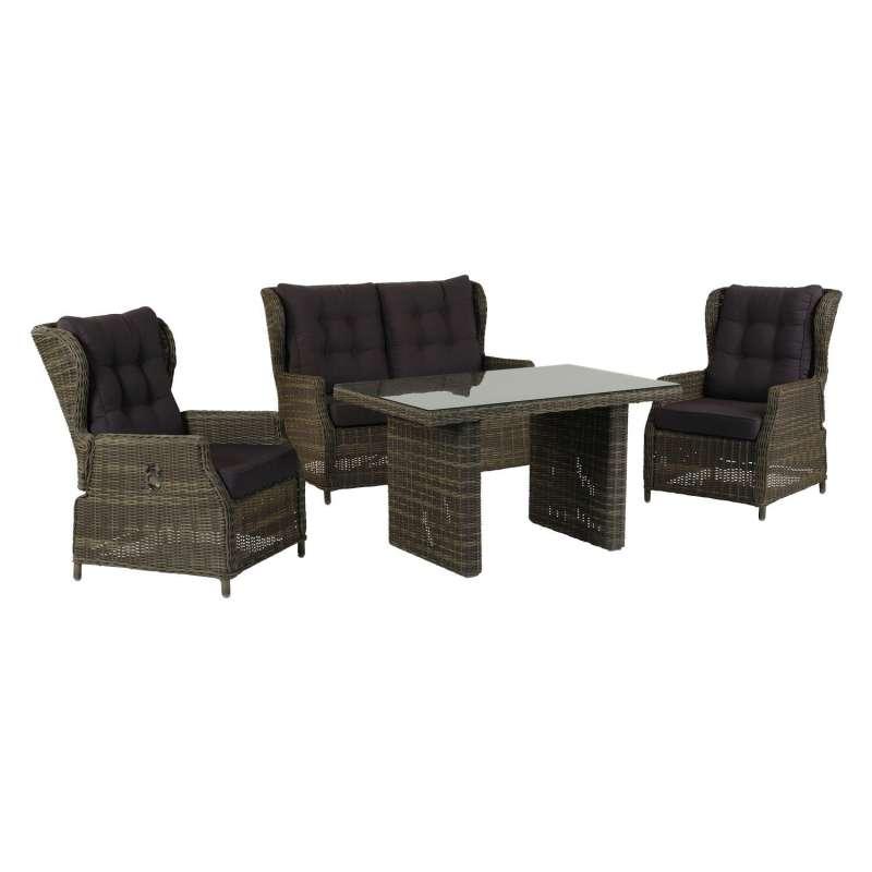 Inko 4-teilige Lounge-Sitzgruppe Leona Rattanoptik mit Tisch 120x83 cm dark olive/anthrazit Loungegr