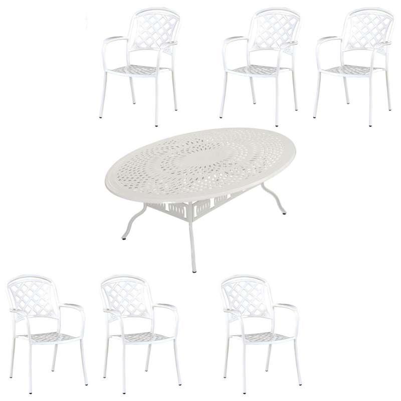 Inko Tisch-Set 1 Tisch 216x152x74cm oval 6 Sessel Aluminium Guss weiss Variante wählbar