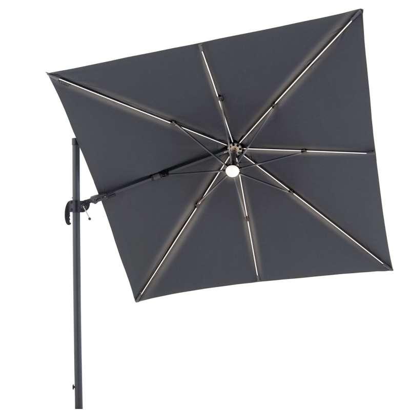 Doppler RAVENNA AX LED Sonnenschirm Pendelschirm 250 x 250 cm anthrazit LED Ampelschirm