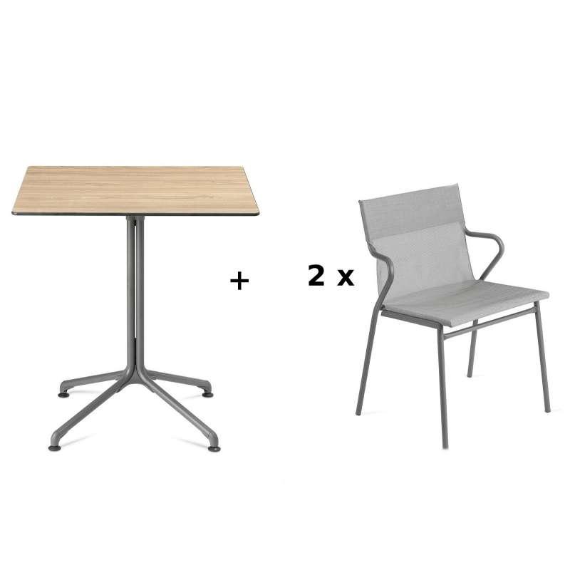 Lafuma Horizon Tisch-Set Loungetisch 70 x 70 cm inkl. 2 Loungestühle Pearl