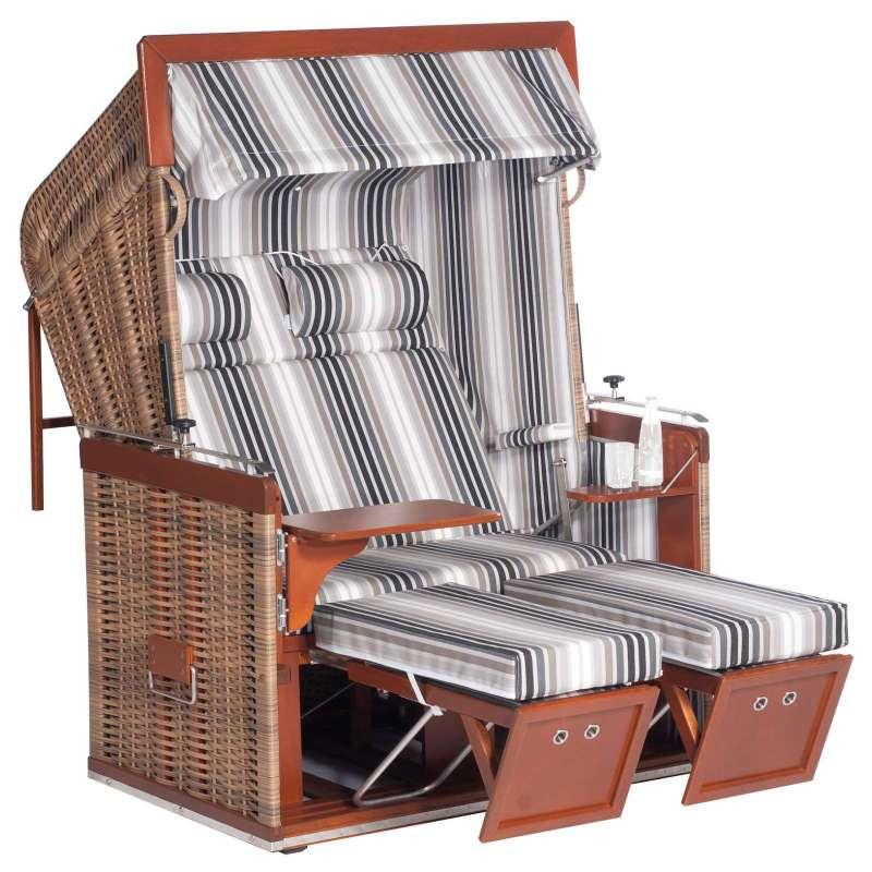 Sonnenpartner Strandkorb Präsident 2 Sitzer Liegemodell mit Ausstattung marone