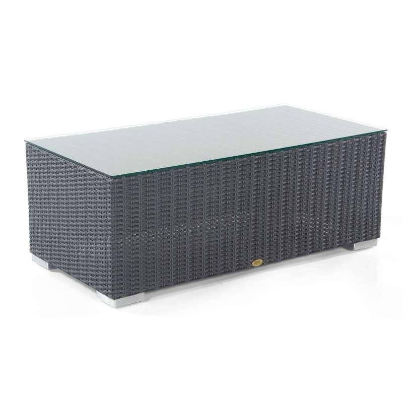Sonnenpartner Lounge-Tisch Residence 120x60 cm Aluminium mit Polyrattan graphit-schwarz mit Glas Lou