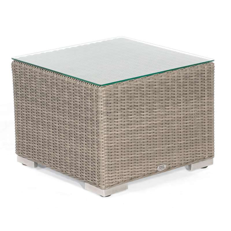 Sonnenpartner Lounge-Tisch Residence 60x60 cm Aluminium mit Polyrattan stone-grey mit Glas Loungetis