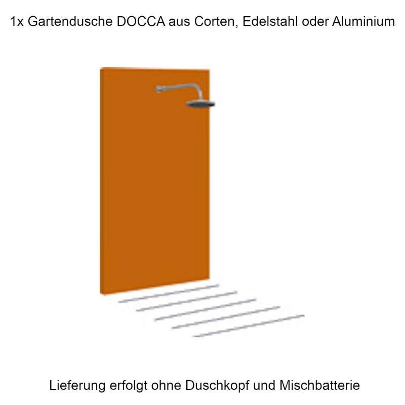 Mecondo Gartendusche DOCCA 90x225x6 cm Corten/Aluminium/Edelstahl Pooldusche Saunadusche