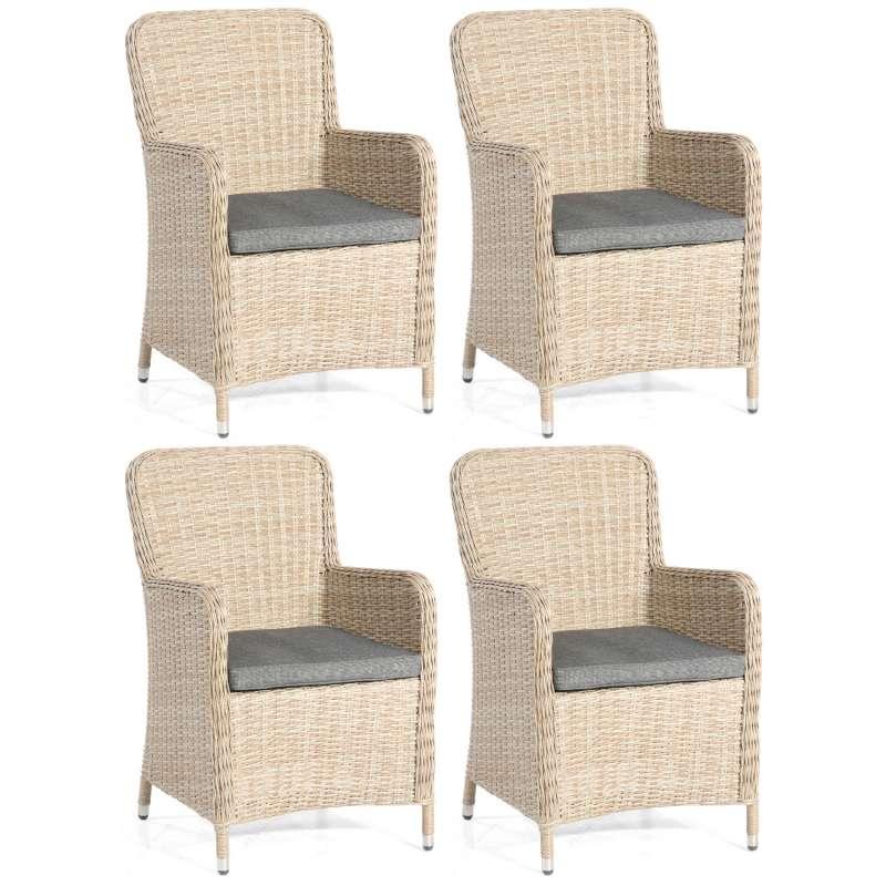 SunnySmart 4er-Set Garten-Sessel Vigo II Aluminium mit Kunststoffgeflecht sandstone Gartenstuhl