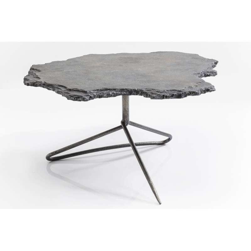 Kare Design Couchtisch Vulcano 82x92 cm Kalksteintischplatte naturbelassen 82115