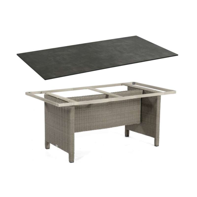 Sonnenpartner Gartentisch Base 160x90 cm Aluminium mit Polyrattan stone-grey Tischsystem mit wählbar