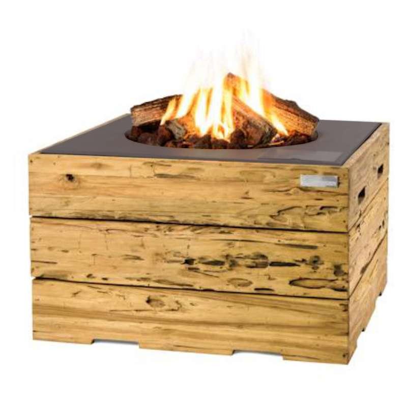 Happy Cocooning Mania Feuertisch 19,5 kW quadratisch groß 76x76x46 cm Teakholz Driftwood/grau