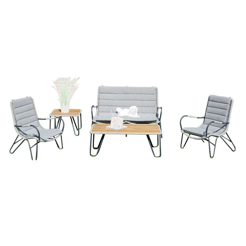 Sonnenpartner 5-teilige Lounge-Sitzgruppe Charité mit 2 Tischen Aluminium mit Teakholz/Polyrope silb