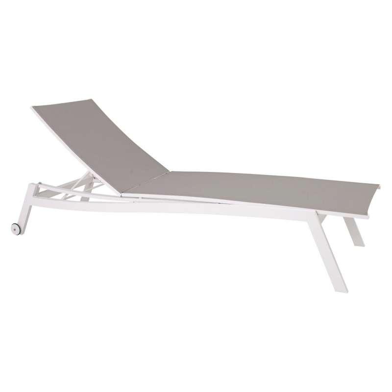 Stern Rollenliege Allround Aluminium weiß/Textilen silber 201x70 cm 5-fach verstellbar Sonnenliege G
