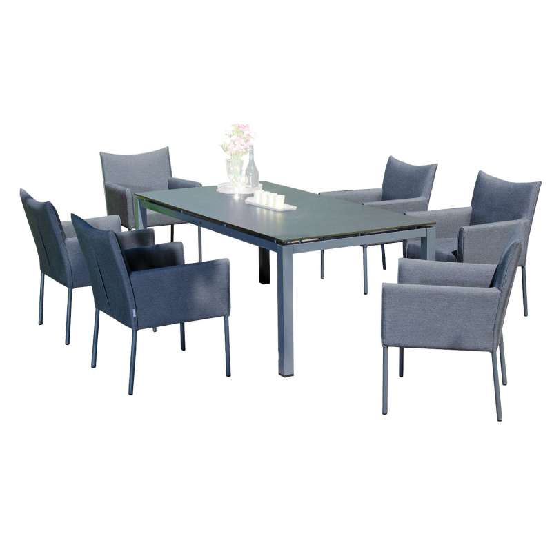 Sonnenpartner 7-teilige Sitzgruppe Cricket & Base 160x90 cm mit 6 Sesseln Aluminium anthrazit