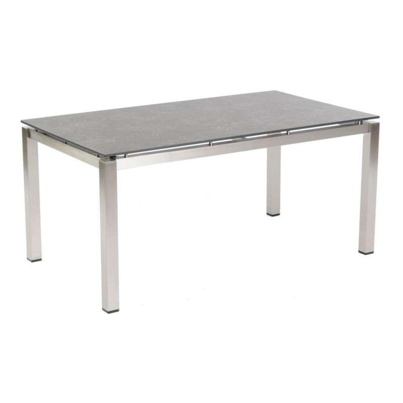 Sonnenpartner Gartentisch Base 160x90 cm Edelstahl Tischsystem mit wählbarer Tischplatte HPL Teak