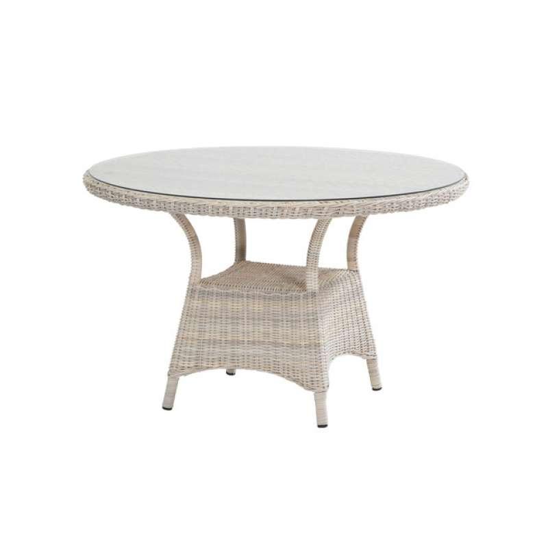 Aqua-Saar Dining Tisch Korsika ø ca. 120 cm Glasplatte Polyrattan Frio AS06009
