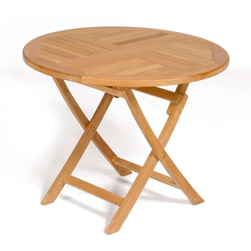 SunnySmart Teakholz-Klapptisch York natur Tisch rund Ø 90 cm Balkontisch