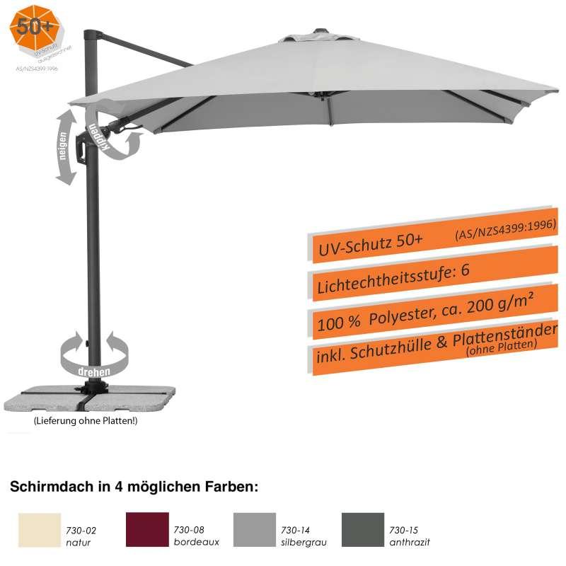 Schneider Schirme Rhodos Twist Sonnenschirm 300 x 300 cm 4 Farbvarianten Freiarmschirm