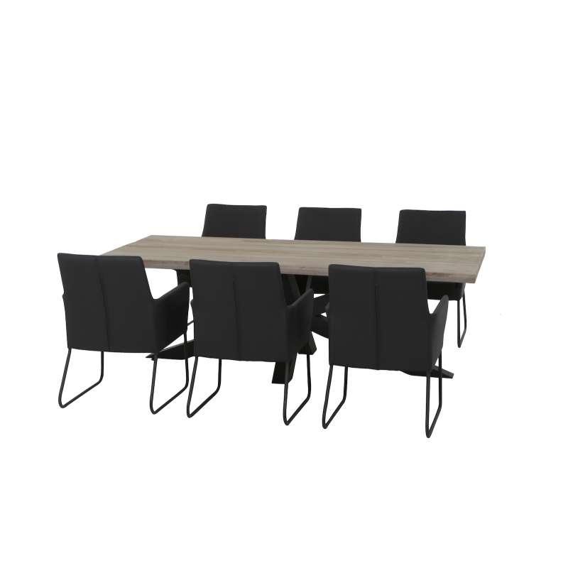 LIFE 7-teilig Timor Blixum SET Tisch 260 x 100 cm Teakholz Komplettset Tischgruppe