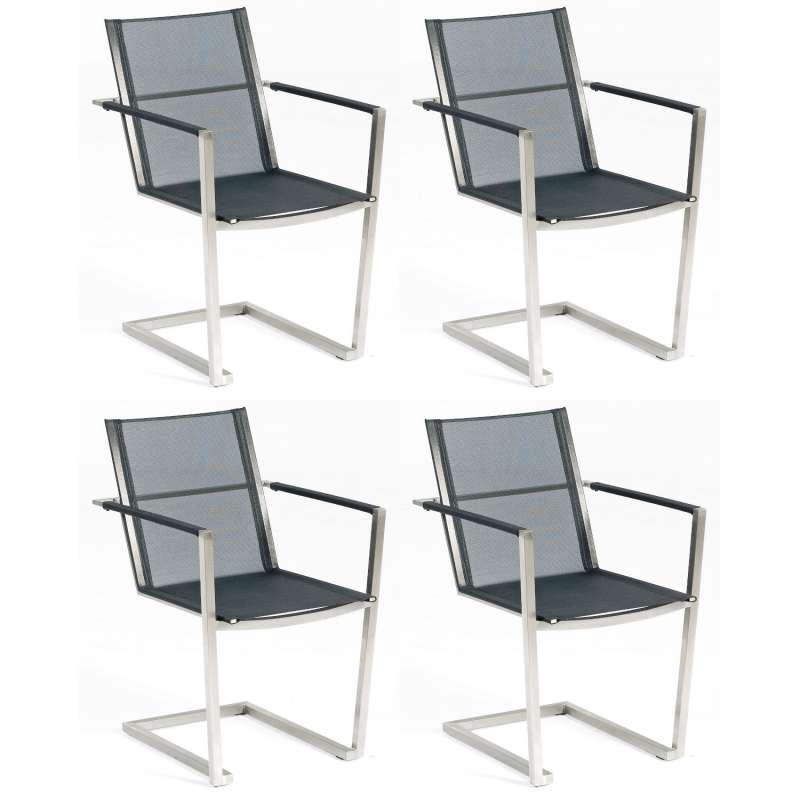 Sonnenpartner 4er-Set Freischwinger Platinum Edelstahl mit Textilen schwarz Gartensessel